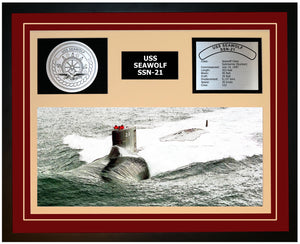 USS SEAWOLF SSN-21 Framed Navy Ship Display Burgundy