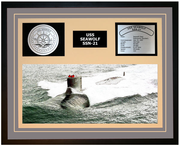 USS SEAWOLF SSN-21 Framed Navy Ship Display Grey