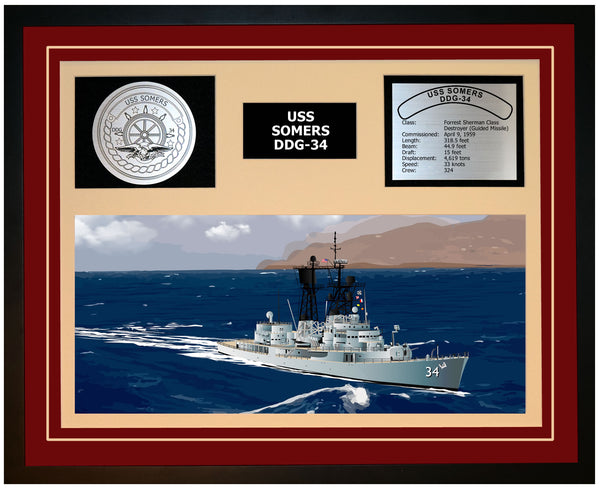 USS SOMERS DDG-34 Framed Navy Ship Display Burgundy