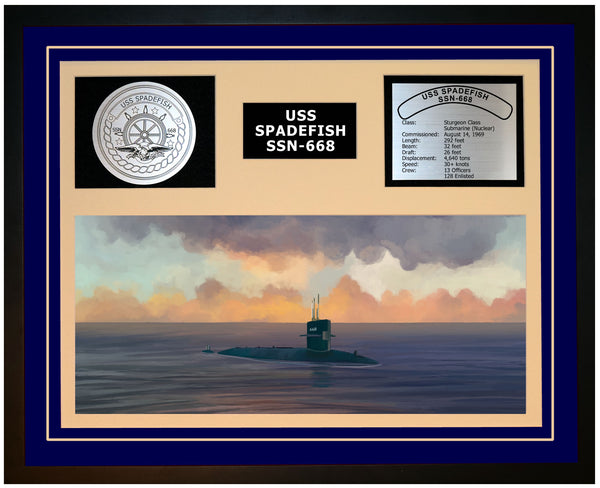 USS SPADEFISH SSN-668 Framed Navy Ship Display Blue