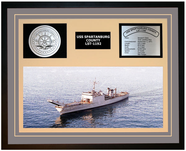 USS SPARTANBURG COUNTY LST-1192 Framed Navy Ship Display Grey