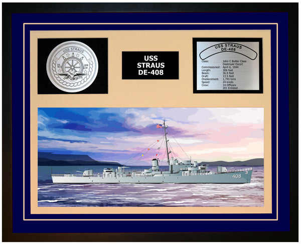 USS STRAUS DE-408 Framed Navy Ship Display Blue