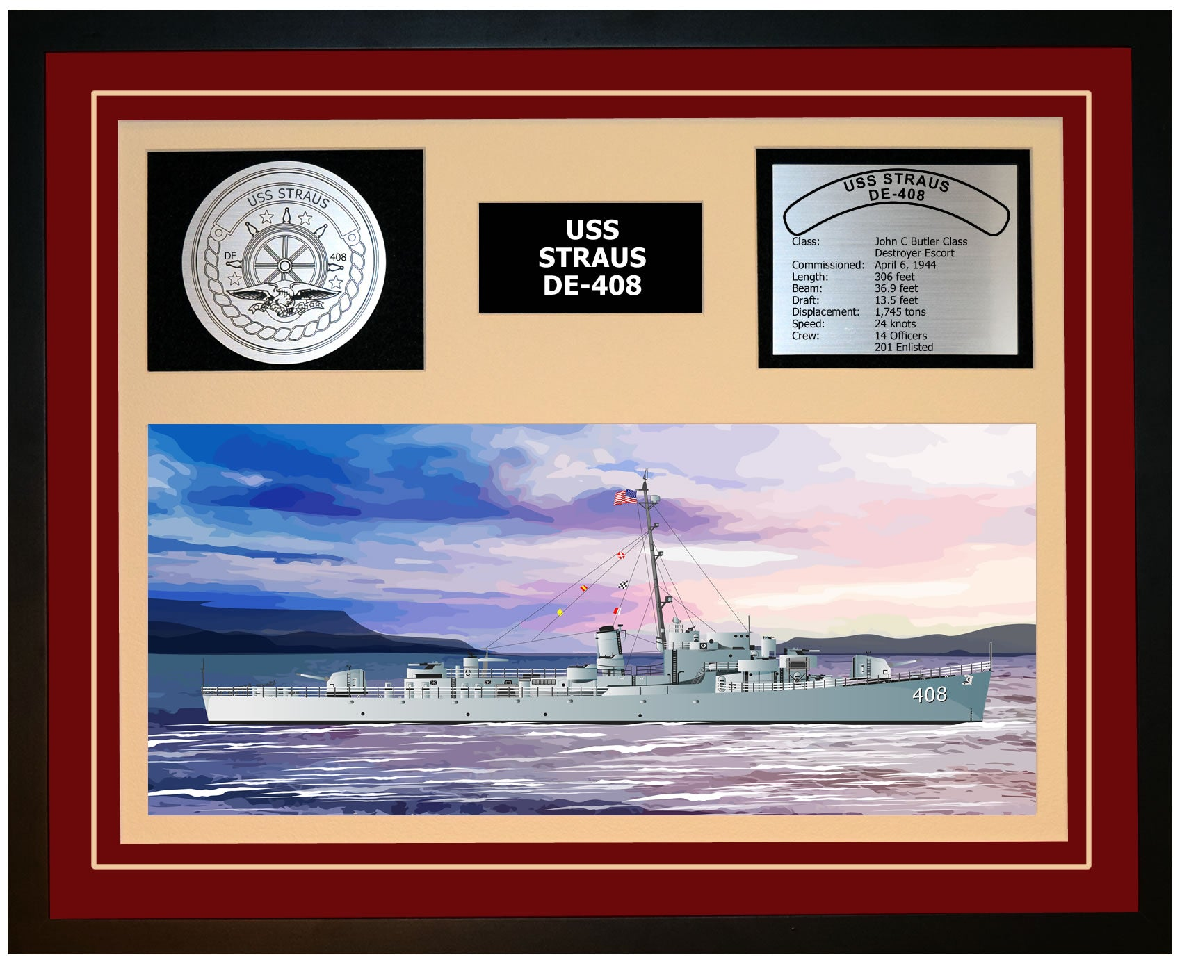 USS STRAUS DE-408 Framed Navy Ship Display Burgundy