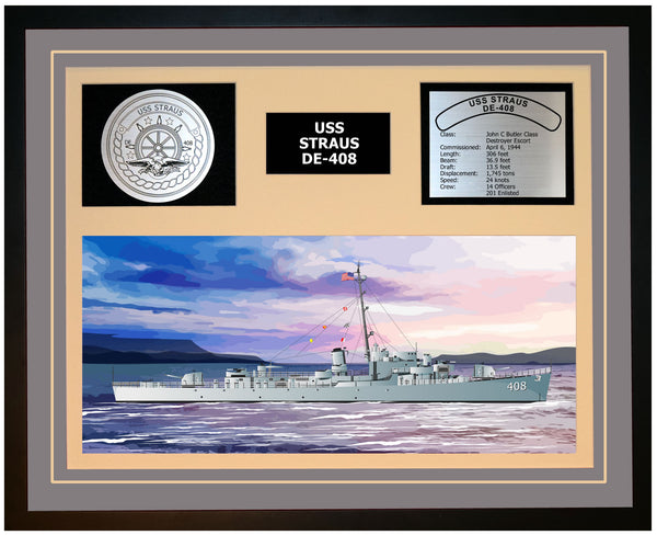USS STRAUS DE-408 Framed Navy Ship Display Grey