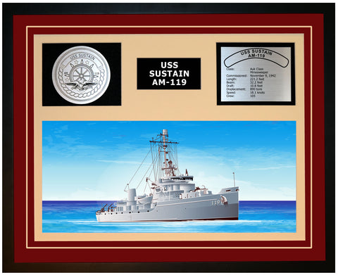 USS SUSTAIN AM-119 Framed Navy Ship Display Burgundy