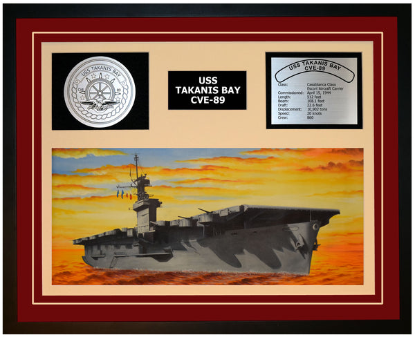 USS TAKANIS BAY CVE-89 Framed Navy Ship Display Burgundy