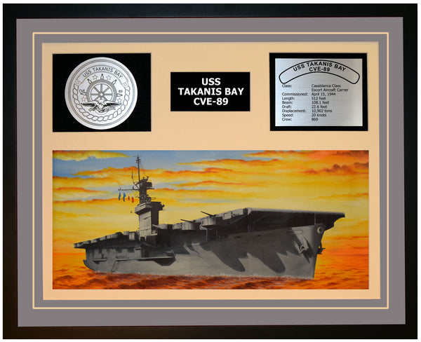 USS TAKANIS BAY CVE-89 Framed Navy Ship Display Grey