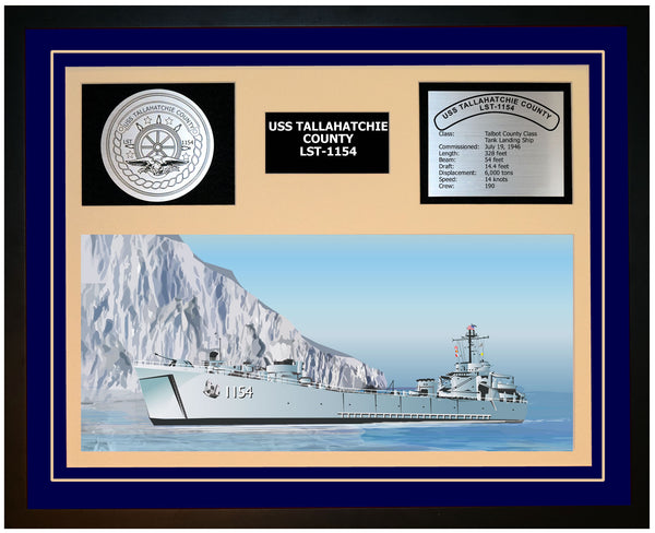 USS TALLAHATCHIE COUNTY LST-1154 Framed Navy Ship Display Blue