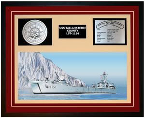 USS TALLAHATCHIE COUNTY LST-1154 Framed Navy Ship Display Burgundy