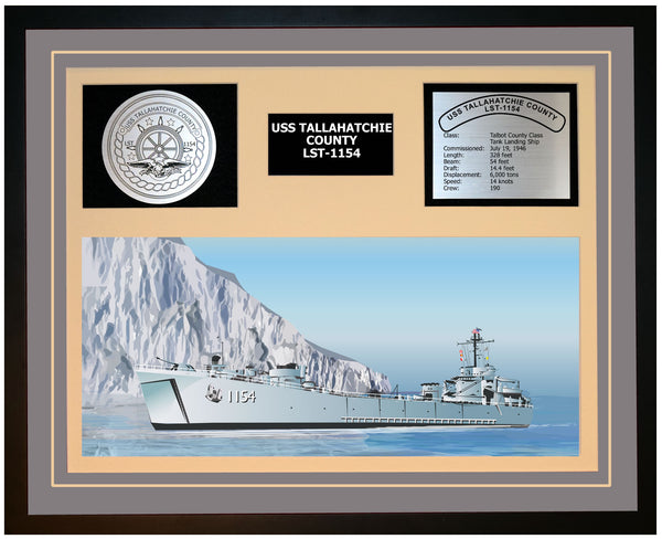 USS TALLAHATCHIE COUNTY LST-1154 Framed Navy Ship Display Grey