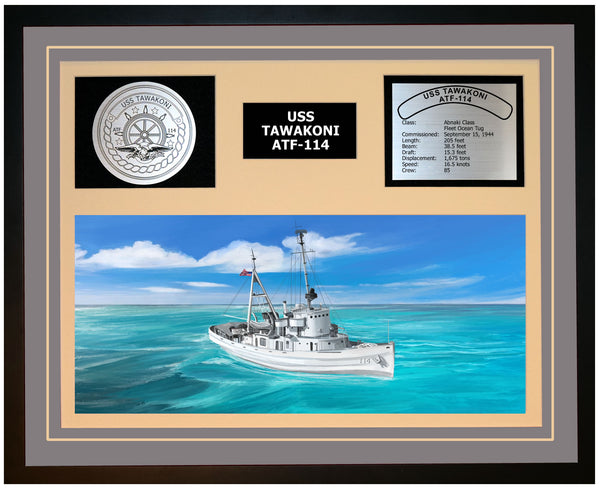 USS TAWAKONI ATF-114 Framed Navy Ship Display Grey