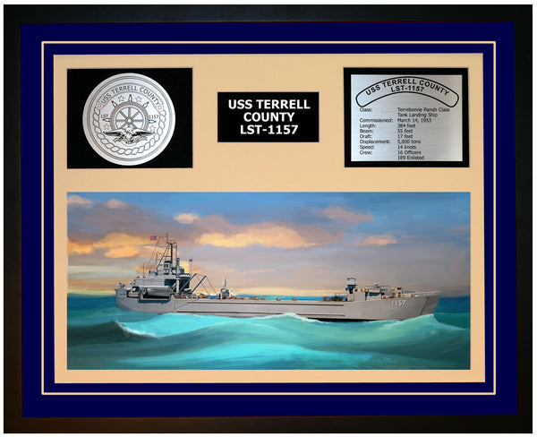USS TERRELL COUNTY LST-1157 Framed Navy Ship Display Blue