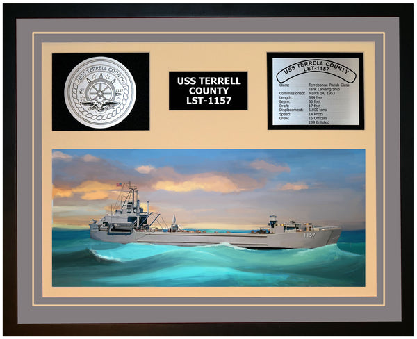 USS TERRELL COUNTY LST-1157 Framed Navy Ship Display Grey