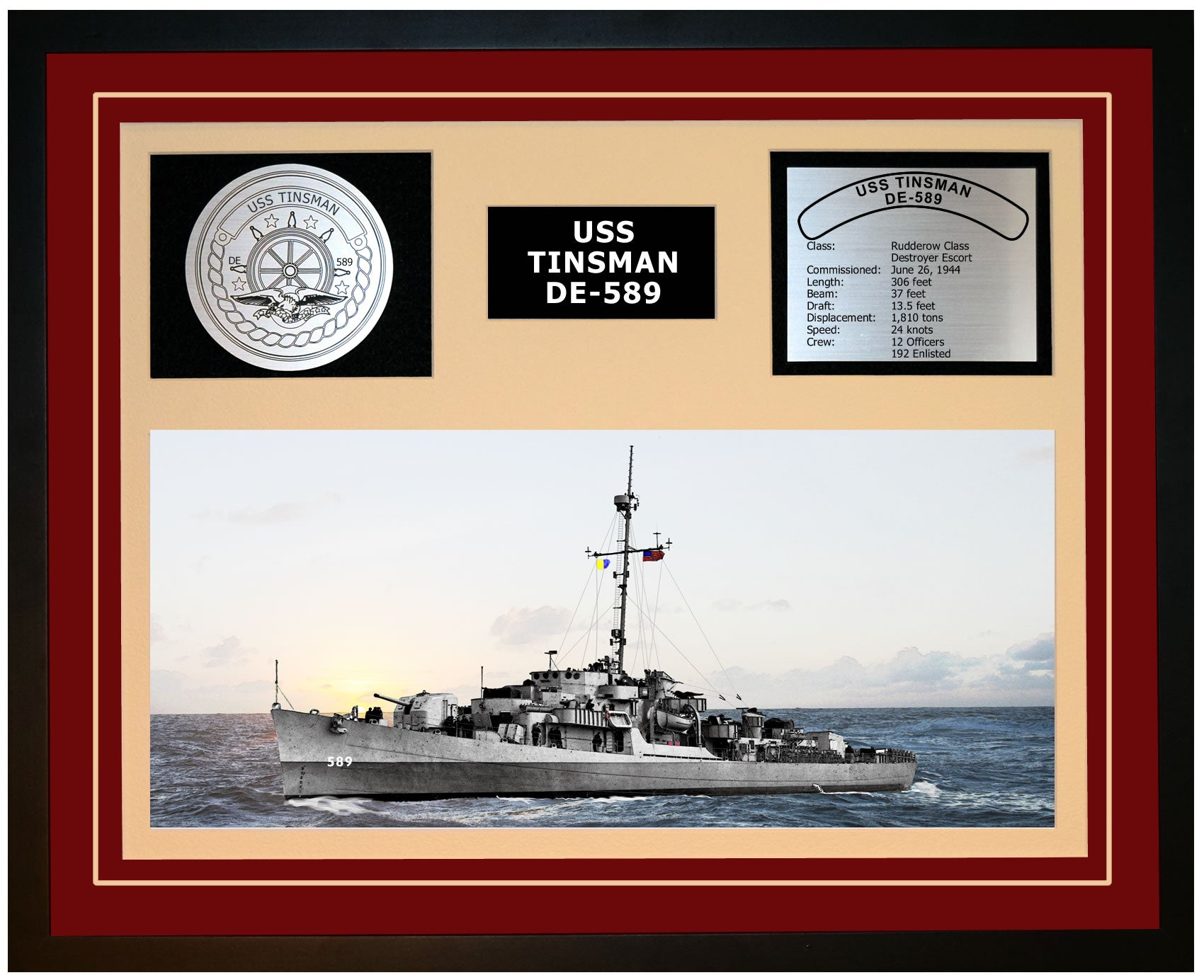 USS TINSMAN DE-589 Framed Navy Ship Display Burgundy