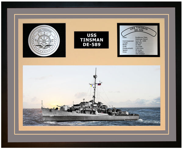 USS TINSMAN DE-589 Framed Navy Ship Display Grey
