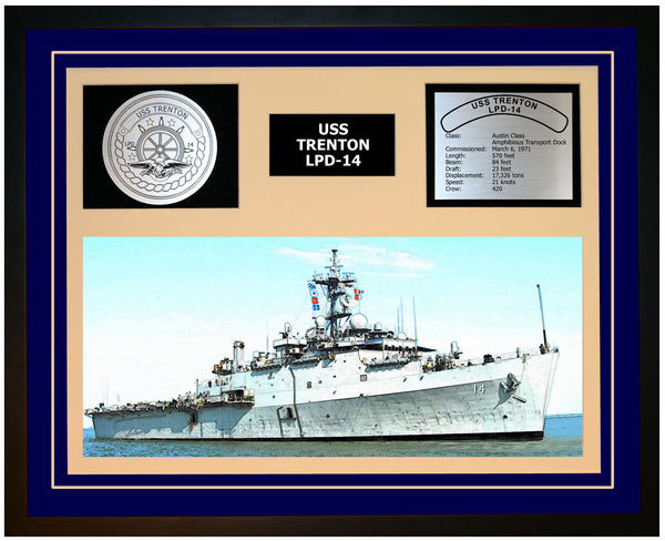 USS TRENTON LPD-14 Framed Navy Ship Display Blue