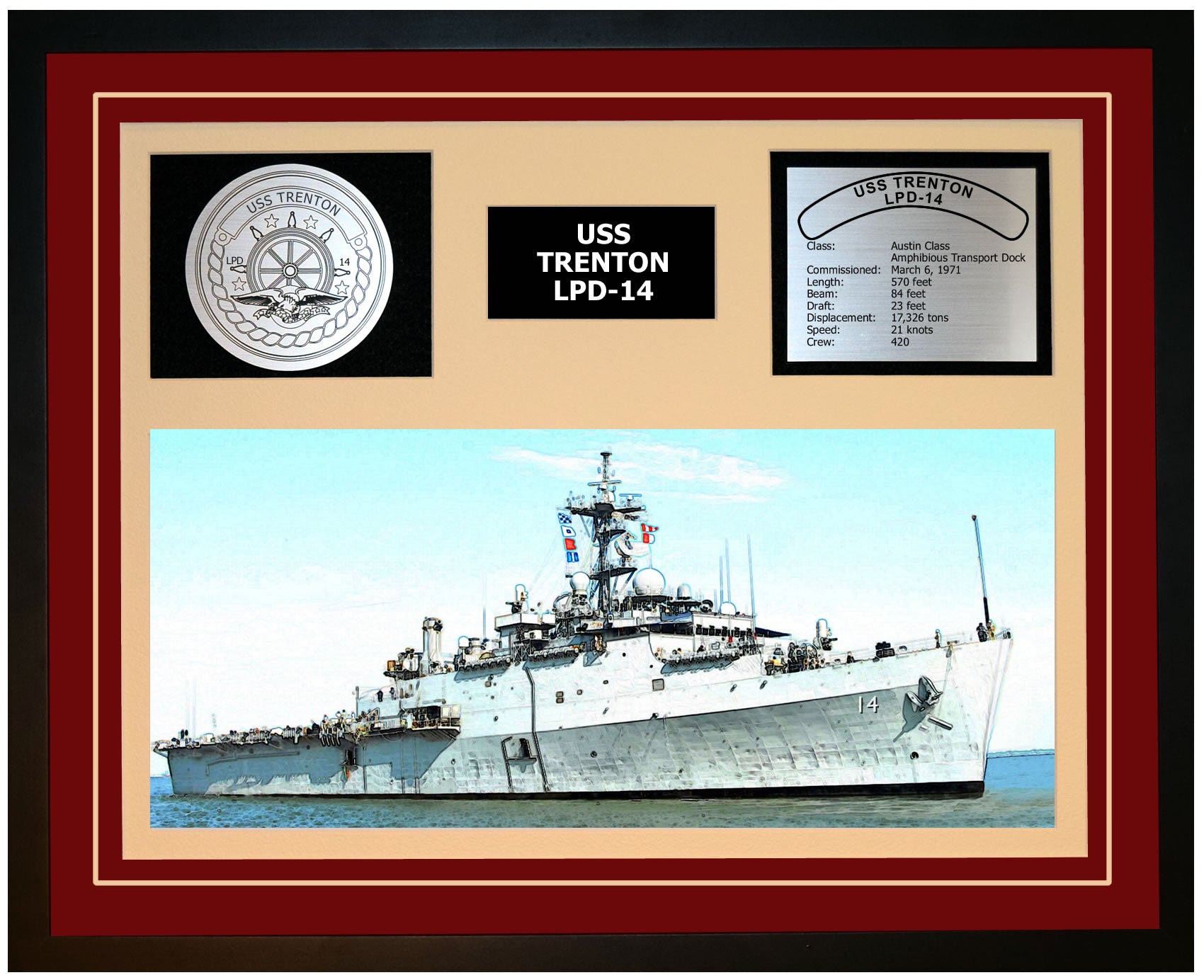 USS TRENTON LPD-14 Framed Navy Ship Display Burgundy