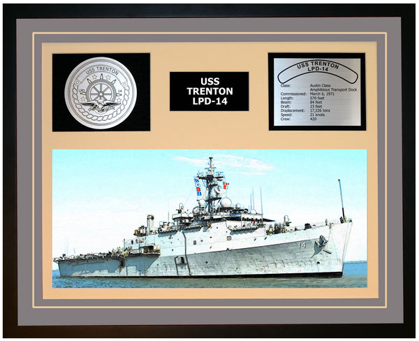 USS TRENTON LPD-14 Framed Navy Ship Display Grey
