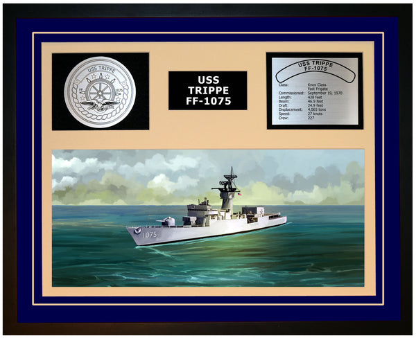 USS TRIPPE FF-1075 Framed Navy Ship Display Blue