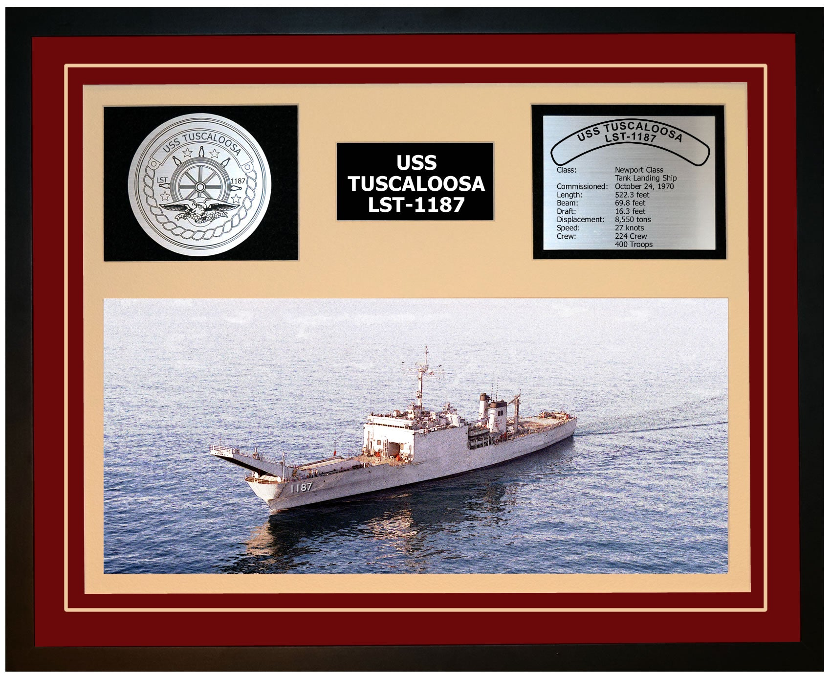USS TUSCALOOSA LST-1187 Framed Navy Ship Display Burgundy