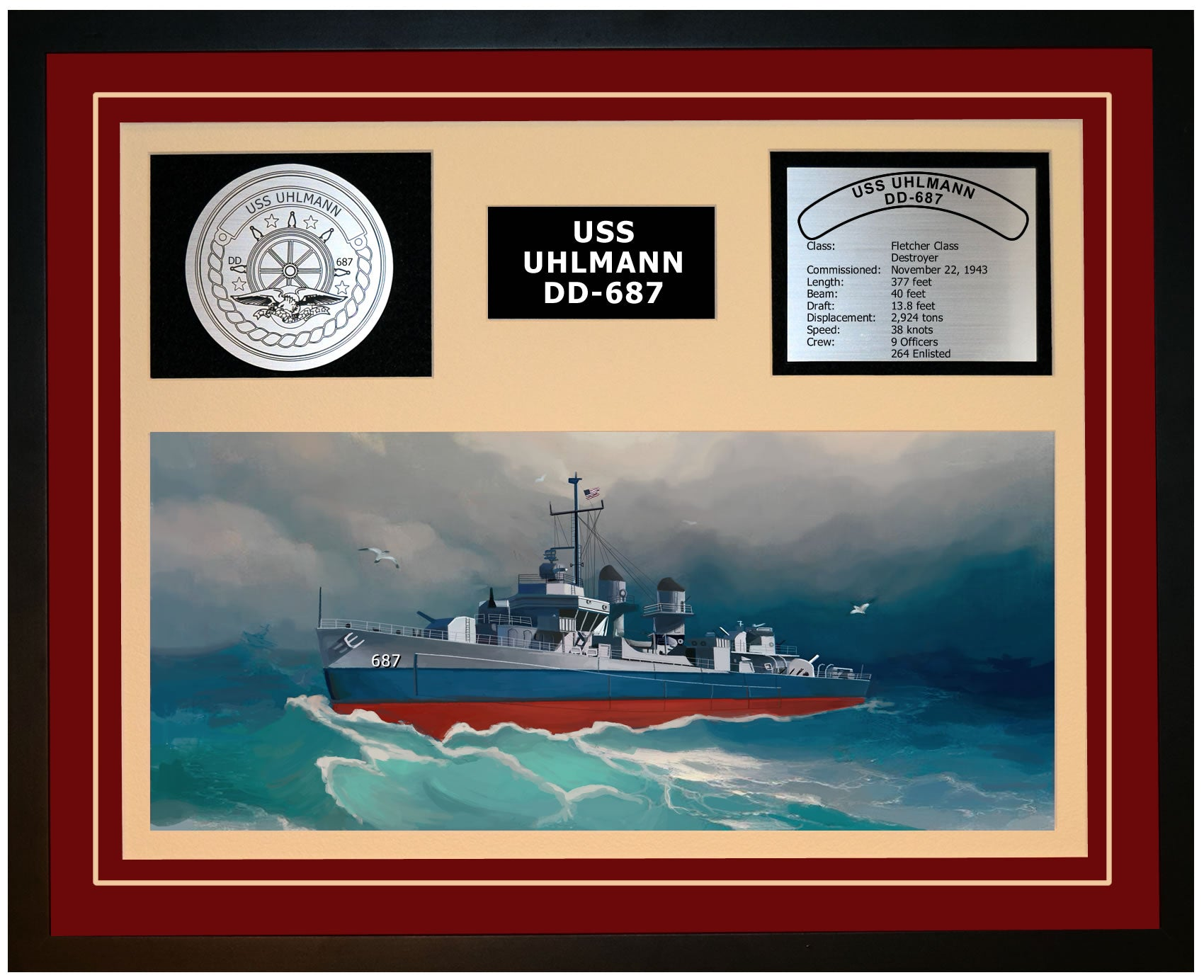 USS UHLMANN DD-687 Framed Navy Ship Display Burgundy