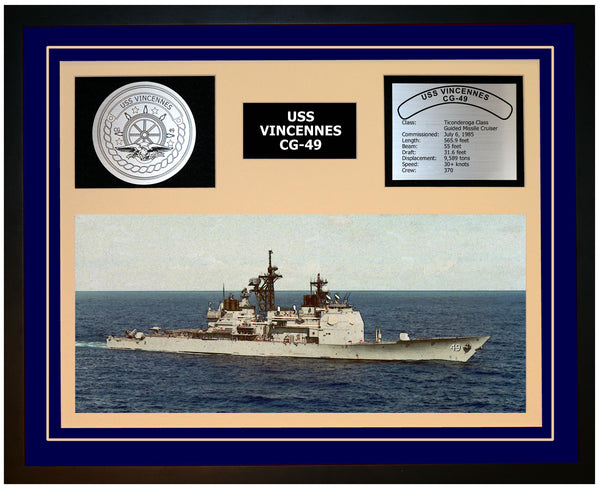 USS VINCENNES CG-49 Framed Navy Ship Display Blue