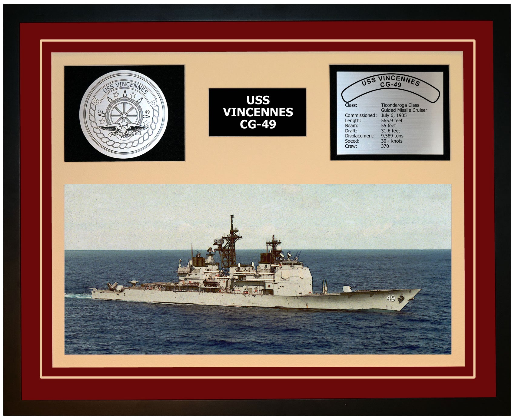 USS VINCENNES CG-49 Framed Navy Ship Display Burgundy