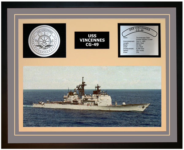 USS VINCENNES CG-49 Framed Navy Ship Display Grey