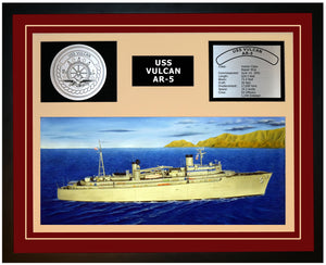 USS VULCAN AR-5 Framed Navy Ship Display Burgundy