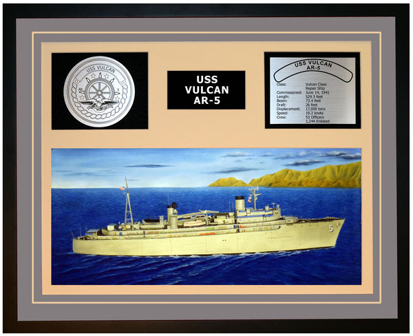 USS VULCAN AR-5 Framed Navy Ship Display Grey