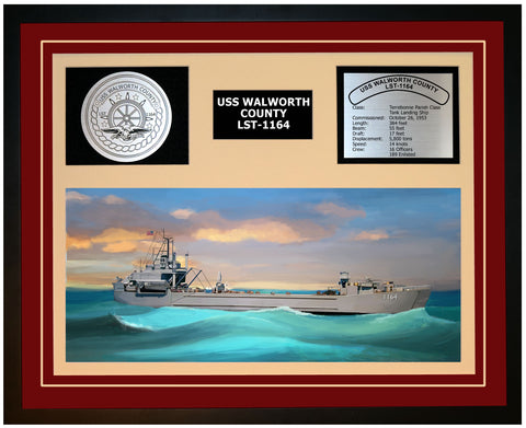 USS WALWORTH COUNTY LST-1164 Framed Navy Ship Display Burgundy
