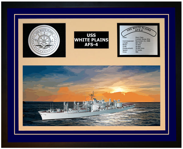 USS WHITE PLAINS AFS-4 Framed Navy Ship Display Blue