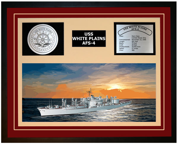 USS WHITE PLAINS AFS-4 Framed Navy Ship Display Burgundy