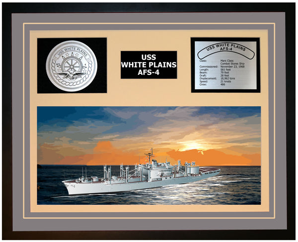 USS WHITE PLAINS AFS-4 Framed Navy Ship Display Grey