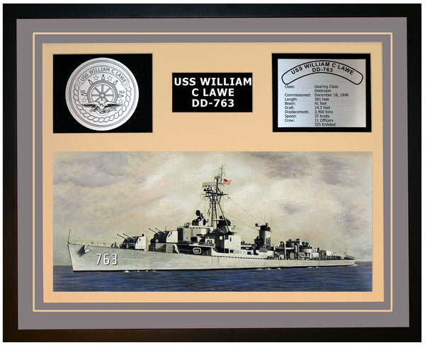 USS WILLIAM C LAWE DD-763 Framed Navy Ship Display Grey