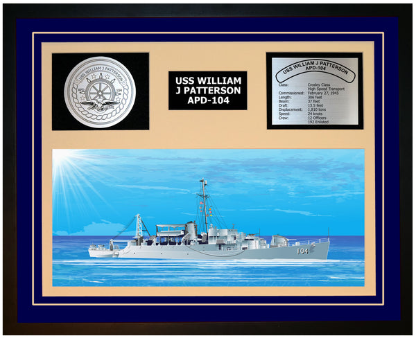 USS WILLIAM J PATTERSON APD-104 Framed Navy Ship Display Blue