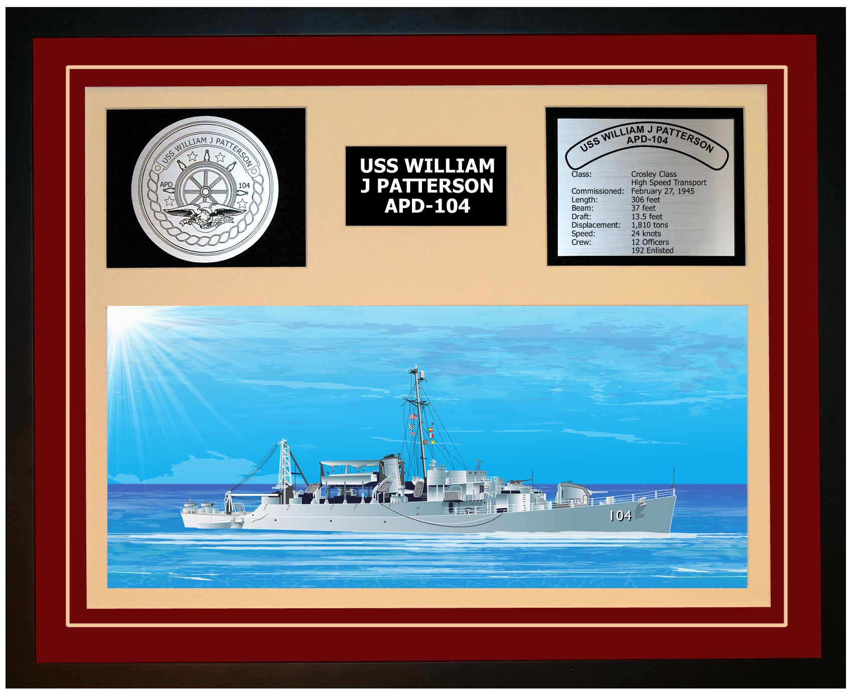 USS WILLIAM J PATTERSON APD-104 Framed Navy Ship Display Burgundy