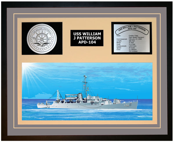 USS WILLIAM J PATTERSON APD-104 Framed Navy Ship Display Grey