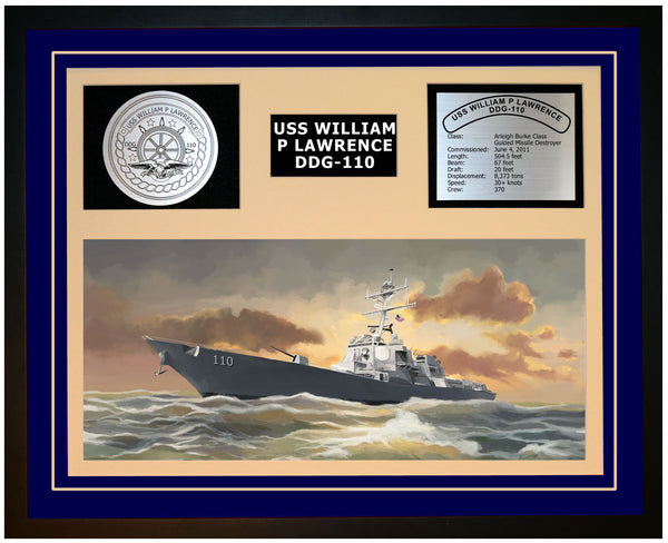 USS WILLIAM P LAWRENCE DDG-110 Framed Navy Ship Display Blue