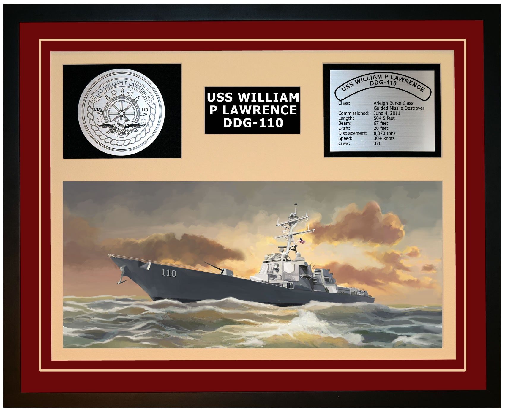 USS WILLIAM P LAWRENCE DDG-110 Framed Navy Ship Display Burgundy