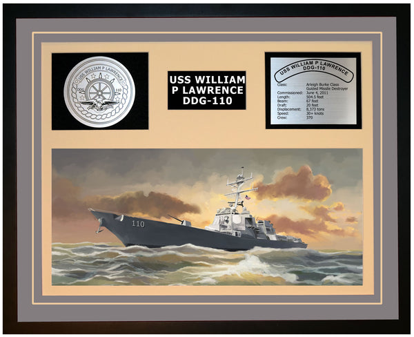 USS WILLIAM P LAWRENCE DDG-110 Framed Navy Ship Display Grey