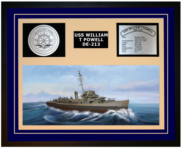 USS WILLIAM T POWELL DE-213 Framed Navy Ship Display Blue