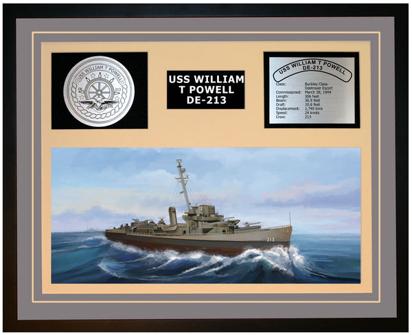 USS WILLIAM T POWELL DE-213 Framed Navy Ship Display Grey