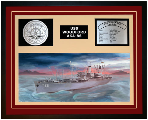 USS WOODFORD AKA-86 Framed Navy Ship Display Burgundy