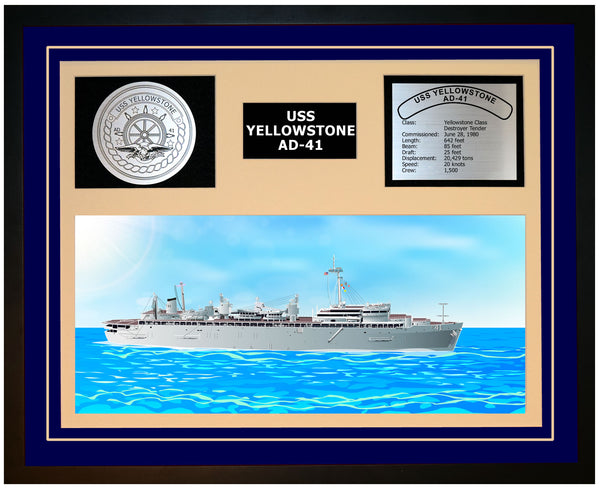 USS YELLOWSTONE AD-41 Framed Navy Ship Display Blue