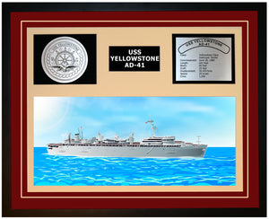 USS YELLOWSTONE AD-41 Framed Navy Ship Display Burgundy