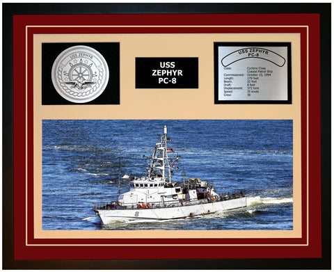 USS ZEPHYR PC-8 Framed Navy Ship Display Burgundy