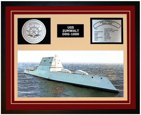 USS ZUMWALT DDG-1000 Framed Navy Ship Display Burgundy