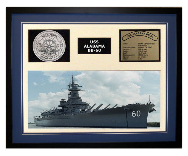 USS Alabama  BB 60  - Framed Navy Ship Display Blue
