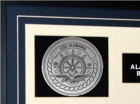 USS Alabama BB60 Framed Navy Ship Display Crest